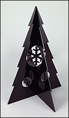 Large Black Christmas Tree With Black Snowflake Baubles.