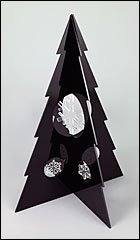 Large Black Christmas Tree With Clear Snowflake Baubles.